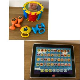 Children toys: Chad Valley drum set + tablet