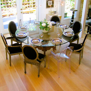 beautiful large dinning table antique curved wood base glass top