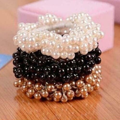 Women Bun Ponytail Elastic Hair  Accessory Band Scrunchie Pearl Bead Hairband