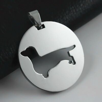 Stainless Steel Short Hair Dachshund Doxie Wiener Pet Dog Charm Pendant Necklace for sale  USA