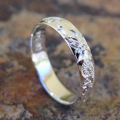 (Hawaiian 925 Sterling Silver Queen Flower Jewelry Wedding Ring Band 4mm SR1131)