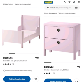 Ikea extendable BUSUNGE bed and Chest of drawers in Pink