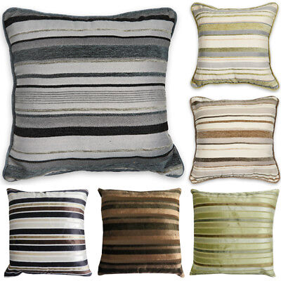 Luxury STRIPED Chenille Suede Filled Cushions or Cushion Covers 18