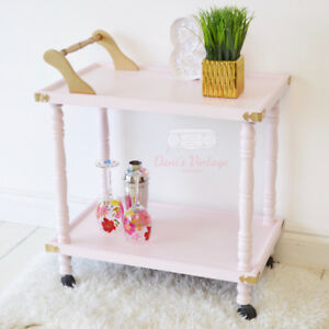 Blushy Pink 2-Tier Trolley/ Bar Cart on Wheels / Coffee Station