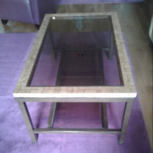 PIER ONE GLASS TOP COFFEE TABLE with GLASS SHELF