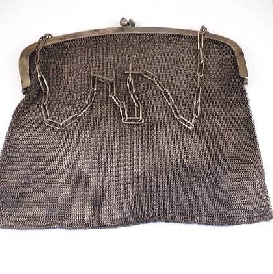 Vintage Antique Sterling Silver Art Deco Chain Mail Mesh Purse 282 grams
