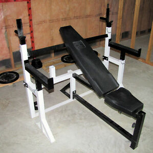 Olympic Weight Bench & bar, Cable Machine, Cast Iron Plates