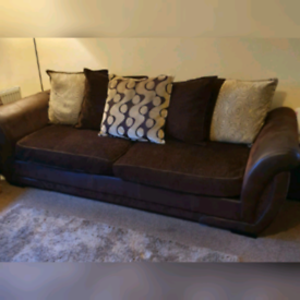 4 Seater Sofa & Matching Chair (Suede & Fabric)