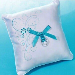 Turquoise Floral Wedding Ring Pillow