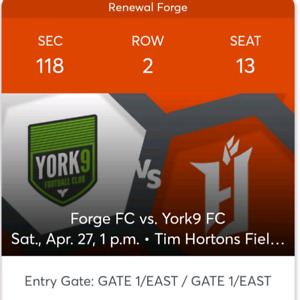 Forge FC vs. York Sat May 27th 1pm