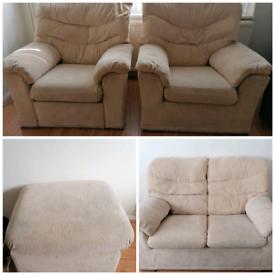 Cream Fabric Sofa Set