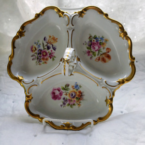 Vintage Reichenbach Porcelain Serving Tray Floral Painted with h