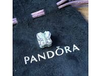 Pandora Pave butterfly cubic zirconia silver charm