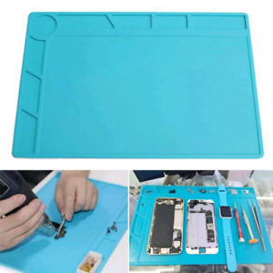 Heat Insulation Silicon Blue Desk Mat For Electrical Soldering