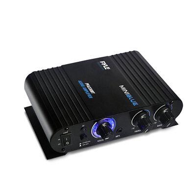 Pyle 90 Watt 8 Ohm Bluetooth Mini Blue Compact Home Studio Class T Amplifier