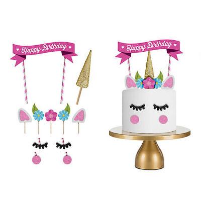 11pcs Glitter Unicorn Happy Birthday Cake Topper Banner Decorating Decor Party ()