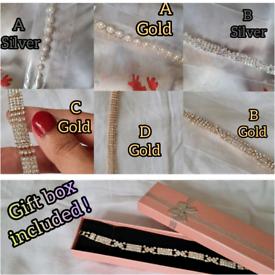 Costume jewellery,diamante/pearl bracelets in gift box