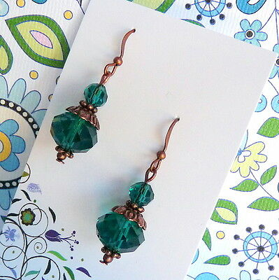 Victorian BoHo Style Peacock Green Crystal Copper Drop Earrings