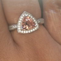 RING with triangle stone (green/pink)