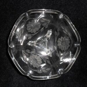 Vintage Cornflower WJ Hughes Crystal Glass Tri-foot Bowl Dish