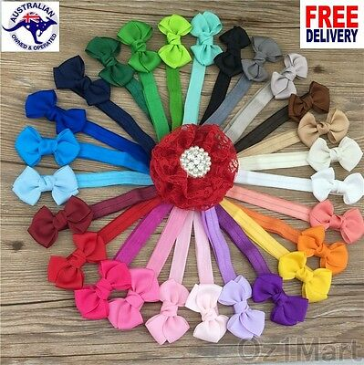 "21 Colors 2.5"" Baby Ribbon Bows Headband Toddler Girls Hairband Christening"