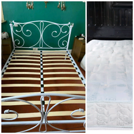 White Double bed + mattress (delivery available