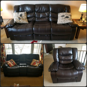 Three Piece Brown Leather  Reclinable Couch Set