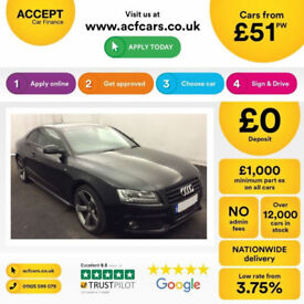 Black AUDI A5 COUPE 1.8 2.0 TFSI Petrol BLACK EDITION FROM £51 PER WEEK!
