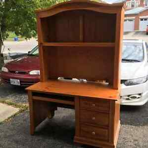 Solid pine and veneer desk /hutch