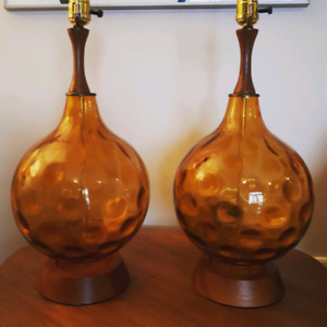 Mid-Century amber glass and teak lamps