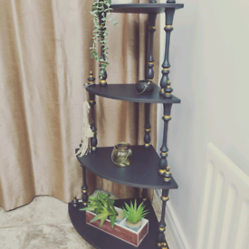 Beautiful Upcycled whatnot vintage retro furniture shelving black and