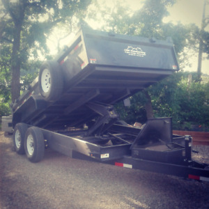 Hydraulic dump trailer for custom work.