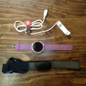 Purple Garmin Forerunner 220, HRM Chest Strap and Charger