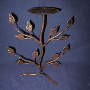 Tree Shaped Metal Pillar Candle Holder