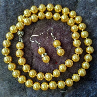 8mm Gold Akoya Shell Pearl necklace AAA 18 inches Earring Set Akoya Gold Jewelry Set