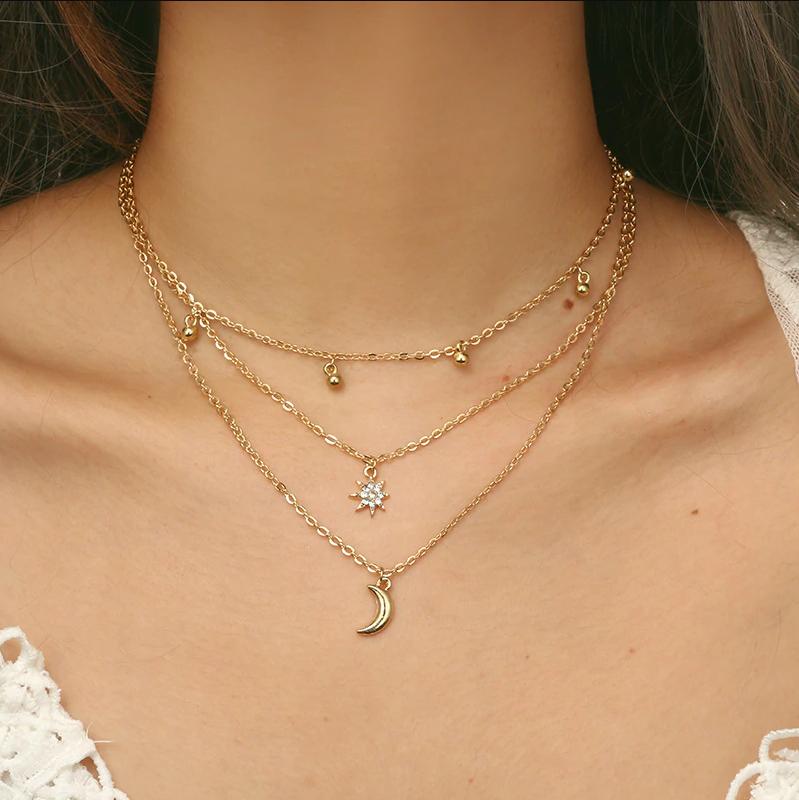 UK BOHO STONE /& STAR CHARMS CHOKER MULTI LAYER NECKLACE Silver Chain Jewellery