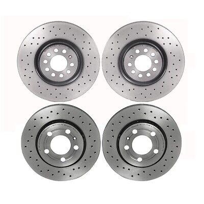 Brembo Xtra Front Rear X-Drilled Brake Disc Rotors Kit For TT Quatro Golf Jetta