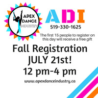 Apex Dance Industry Fall Registration Saturday July 21st