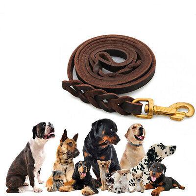 Braided Genuine Leather K9 Pet Dog Training Leash Leads Best for German Shepherd