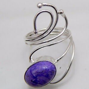 Genuine Charoite 925 Sterling Silver Adjustable Ring