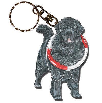 Newfoundland Wooden Dog Breed Keychain Key Ring