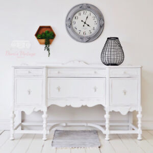 Stunning White Antique Buffet / Sideboard / Hutch