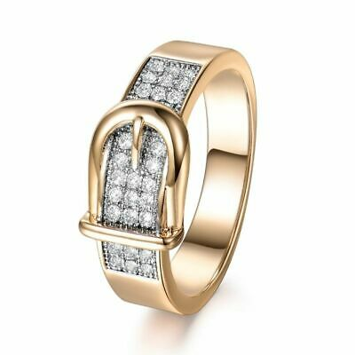 Women White Sapphire Vintage Filled Crystal New Gold Ring Jewelry Engagement