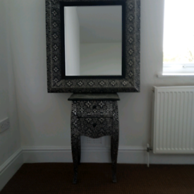 Bedside table and matching mirror