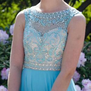 Turquoise, Light Blue Prom/ Grad Dress - Size 00