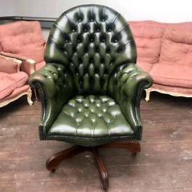 High back directors buttoned leather chair