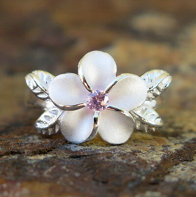 - Hawaiian Silver 4 Leaves Plumeria Flower Pink CZ Wedding Ring Band 12mm SR2062