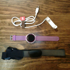 Purple Garmin Forerunner 220, HRM Strap and Charger