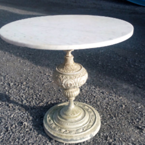 Marble side tables with metal bases