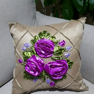 Hand made ribbon work and embroidered cushions